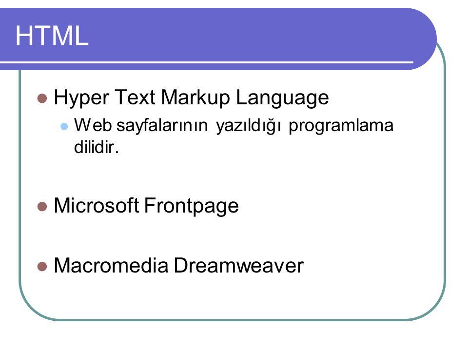 HTML Hyper Text Markup Language Web sayfalarının yazıldığı programlama dilidir.