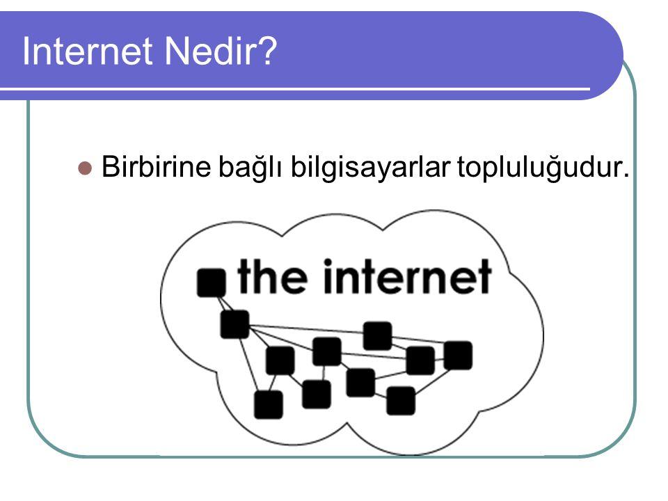 Internet Nedir Birbirine bağlı bilgisayarlar topluluğudur.