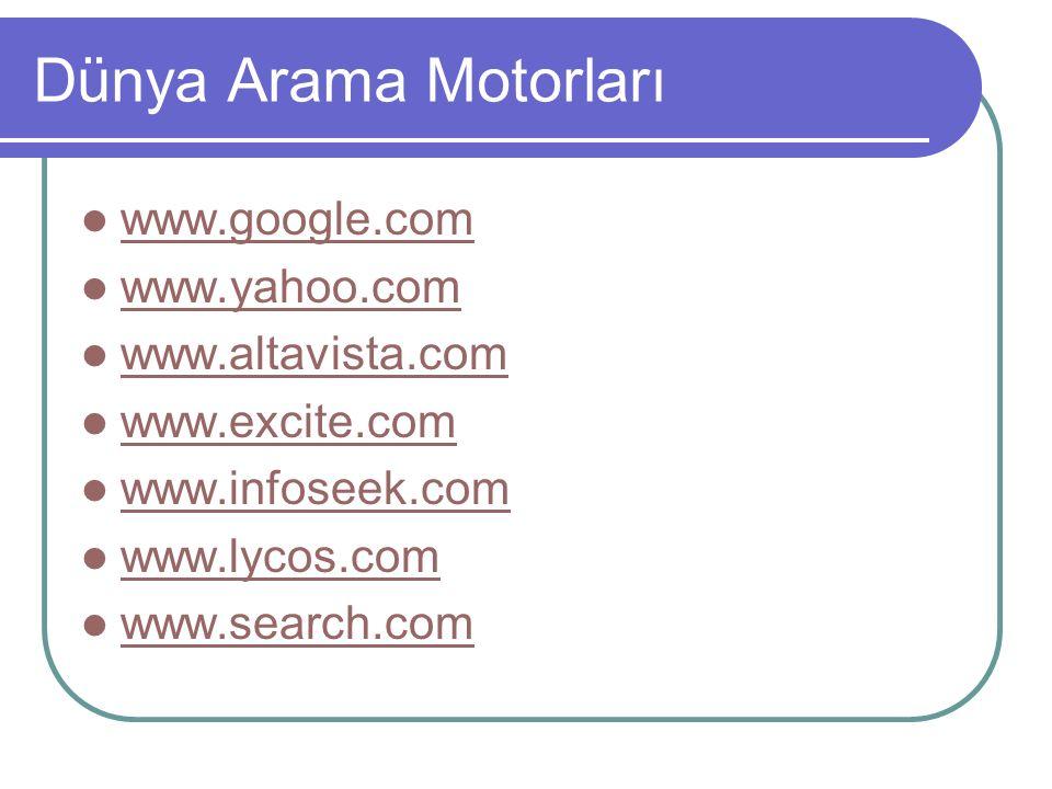 Dünya Arama Motorları www.google.com www.yahoo.com www.altavista.com www.excite.com www.infoseek.com www.lycos.com www.search.com