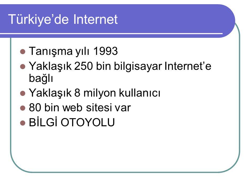 Tanışma yılı 1993 Yaklaşık 250 bin bilgisayar Internet'e bağlı Yaklaşık 8 milyon kullanıcı 80 bin web sitesi var BİLGİ OTOYOLU