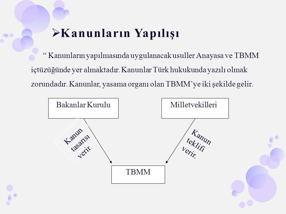 """"""" Kanunların yapılmasında uygulanacak usuller Anayasa ve TBMM içtüzüğünde yer almaktadır. Kanunlar Türk hukukunda yazılı olmak zorundadır. Kanunlar, y"""