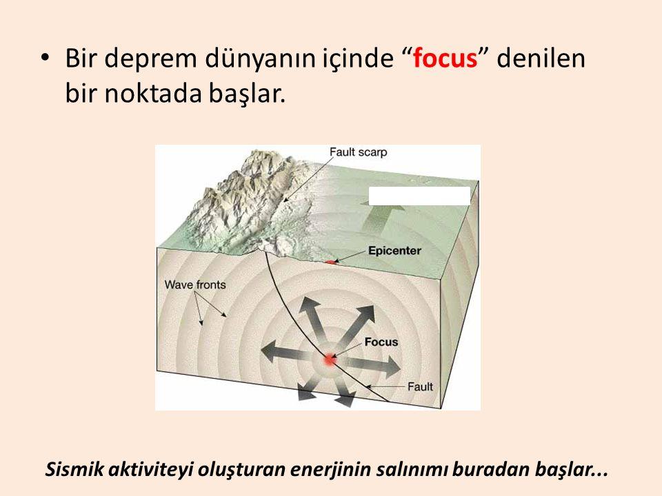 """Bir deprem dünyanın içinde """"focus"""" denilen bir noktada başlar. Sismik aktiviteyi oluşturan enerjinin salınımı buradan başlar..."""