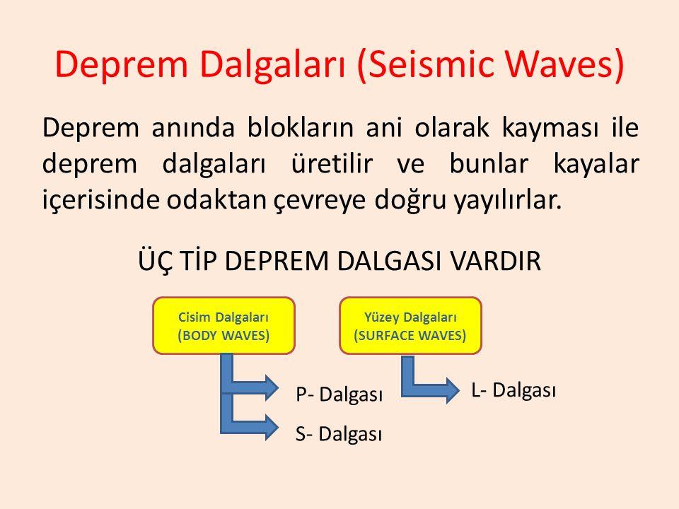 Deprem Dalgaları (Seismic Waves) Deprem anında blokların ani olarak kayması ile deprem dalgaları üretilir ve bunlar kayalar içerisinde odaktan çevreye