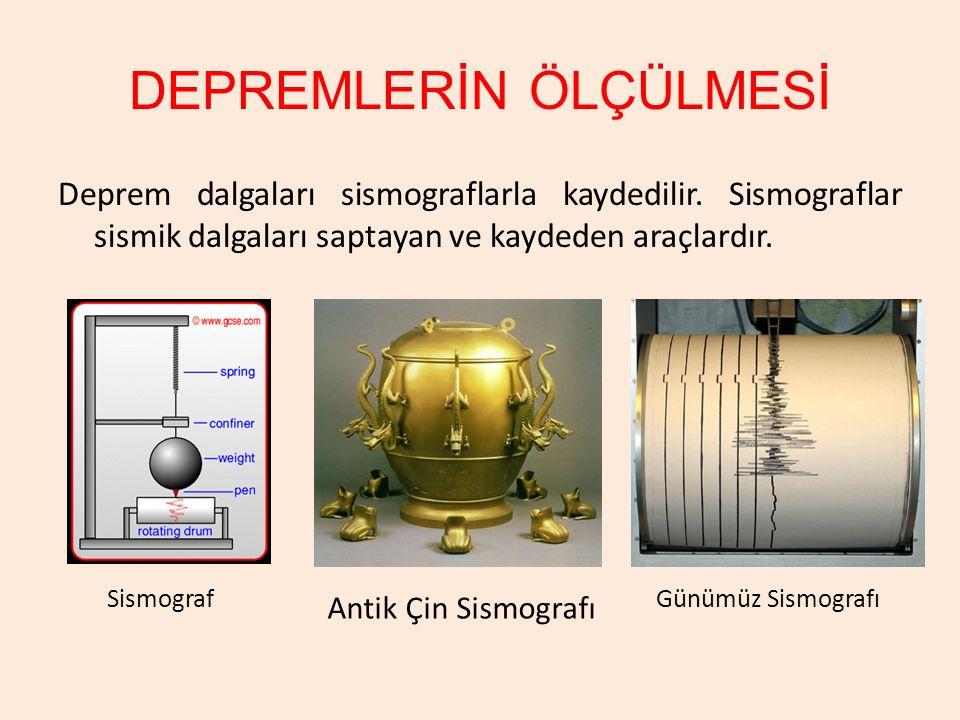 DEPREMLERİN ÖLÇÜLMESİ Deprem dalgaları sismograflarla kaydedilir. Sismograflar sismik dalgaları saptayan ve kaydeden araçlardır. Sismograf Antik Çin S