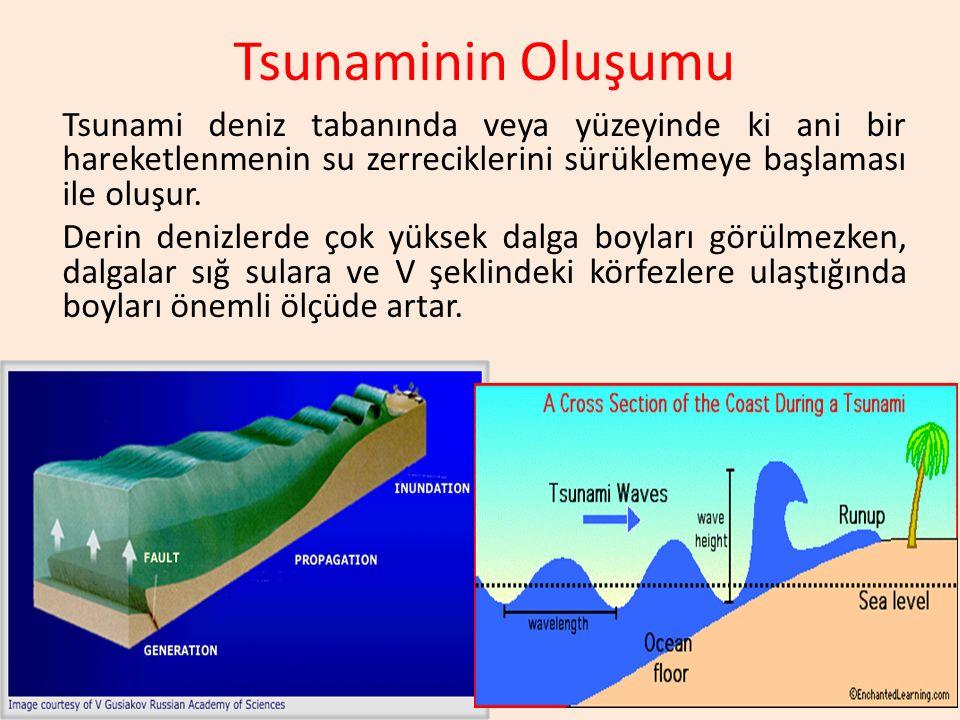 Tsunaminin Oluşumu Tsunami deniz tabanında veya yüzeyinde ki ani bir hareketlenmenin su zerreciklerini sürüklemeye başlaması ile oluşur. Derin denizle