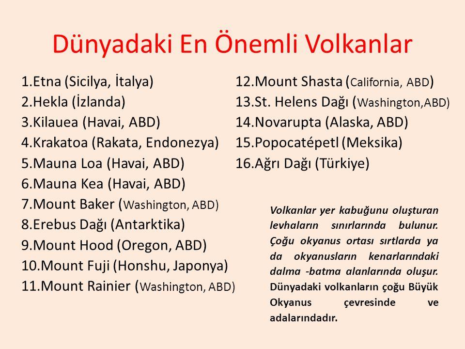Dünyadaki En Önemli Volkanlar 1.Etna (Sicilya, İtalya) 2.Hekla (İzlanda) 3.Kilauea (Havai, ABD) 4.Krakatoa (Rakata, Endonezya) 5.Mauna Loa (Havai, ABD