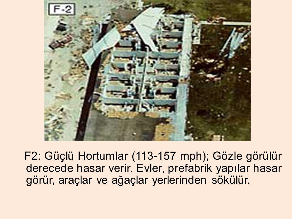 F2: Güçlü Hortumlar (113-157 mph); Gözle görülür derecede hasar verir. Evler, prefabrik yapılar hasar görür, araçlar ve ağaçlar yerlerinden sökülür.
