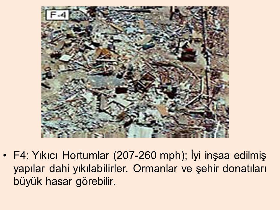F4: Yıkıcı Hortumlar (207-260 mph); İyi inşaa edilmiş yapılar dahi yıkılabilirler. Ormanlar ve şehir donatıları büyük hasar görebilir.