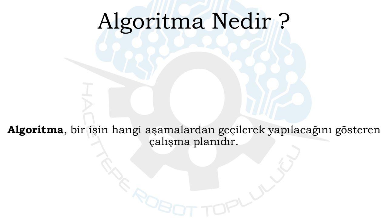 Algoritma, bir işin hangi aşamalardan geçilerek yapılacağını gösteren çalışma planıdır.