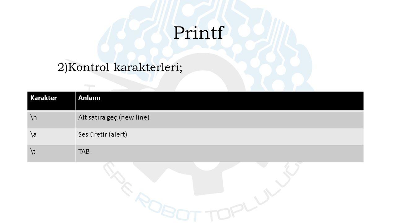 2)Kontrol karakterleri; KarakterAnlamı \nAlt satıra geç.(new line) \aSes üretir (alert) \tTAB Printf
