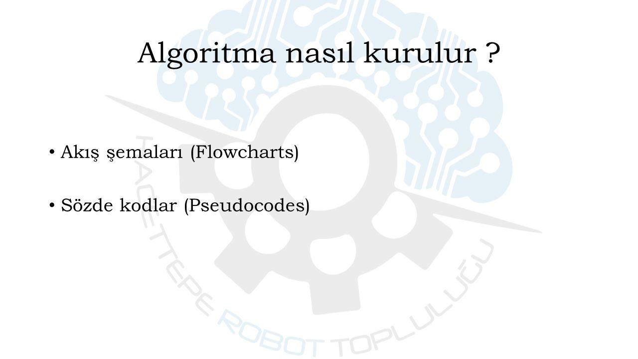 Akış şemaları (Flowcharts) Sözde kodlar (Pseudocodes) Algoritma nasıl kurulur