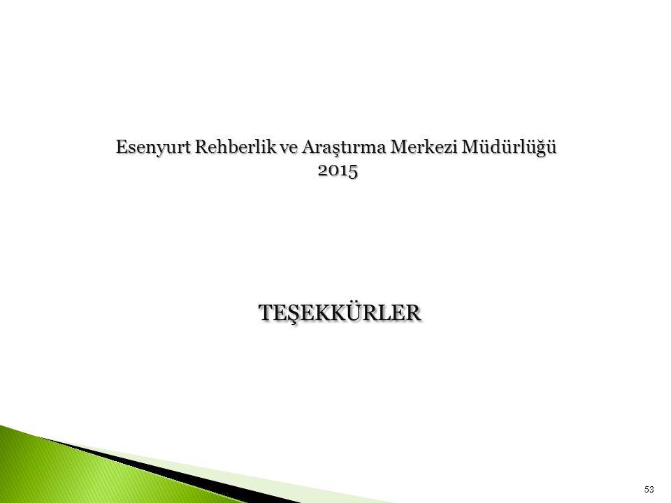 TEŞEKKÜRLER 53 Esenyurt Rehberlik ve Araştırma Merkezi Müdürlüğü 2015 2015