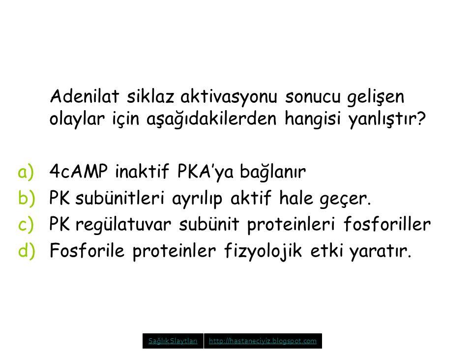 Adenilat siklaz aktivasyonu sonucu gelişen olaylar için aşağıdakilerden hangisi yanlıştır? a)4cAMP inaktif PKA'ya bağlanır b)PK subünitleri ayrılıp ak