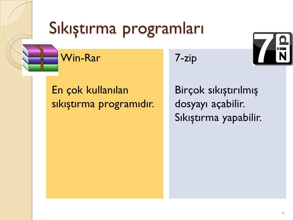Sıkıştırma programları Win-Rar En çok kullanılan sıkıştırma programıdır.