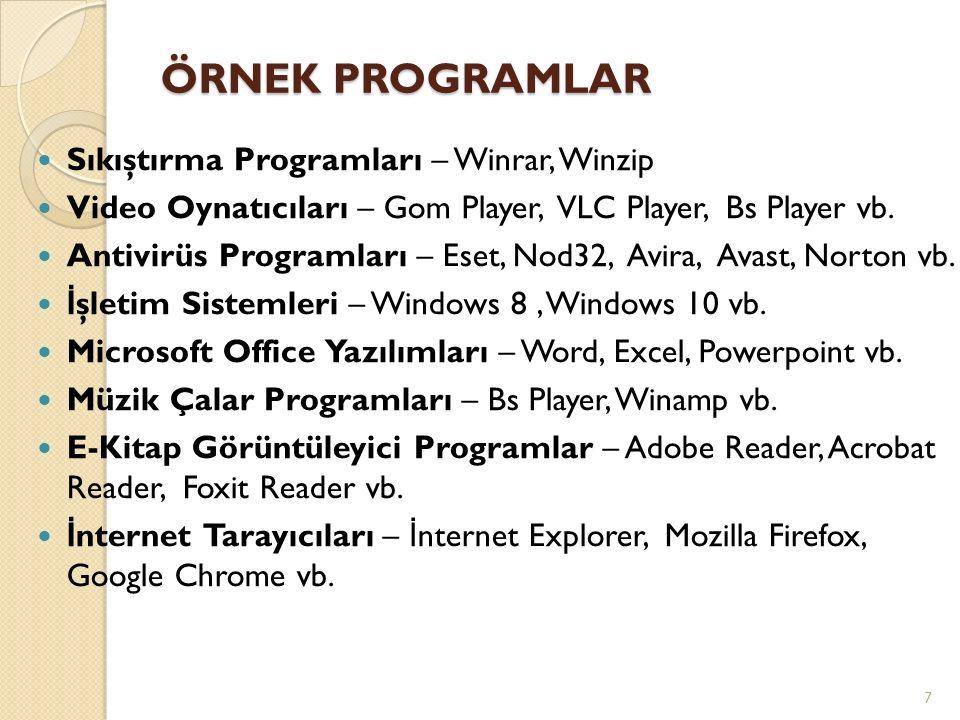 ÖRNEK PROGRAMLAR Sıkıştırma Programları – Winrar, Winzip Video Oynatıcıları – Gom Player, VLC Player, Bs Player vb.