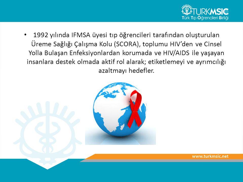 1992 yılında IFMSA üyesi tıp öğrencileri tarafından oluşturulan Üreme Sağlığı Çalışma Kolu (SCORA), toplumu HIV'den ve Cinsel Yolla Bulaşan Enfeksiyonlardan korumada ve HIV/AIDS ile yaşayan insanlara destek olmada aktif rol alarak; etiketlemeyi ve ayrımcılığı azaltmayı hedefler.