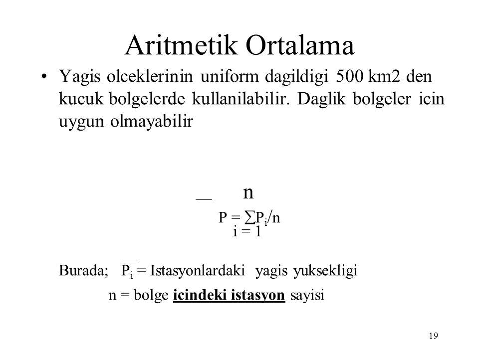 19 Aritmetik Ortalama Yagis olceklerinin uniform dagildigi 500 km2 den kucuk bolgelerde kullanilabilir. Daglik bolgeler icin uygun olmayabilir P =  P