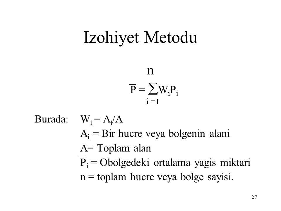 27 Izohiyet Metodu n P =  W i P i i =1 Burada: W i = A i /A A i = Bir hucre veya bolgenin alani A= Toplam alan P i = Obolgedeki ortalama yagis miktari n = toplam hucre veya bolge sayisi.