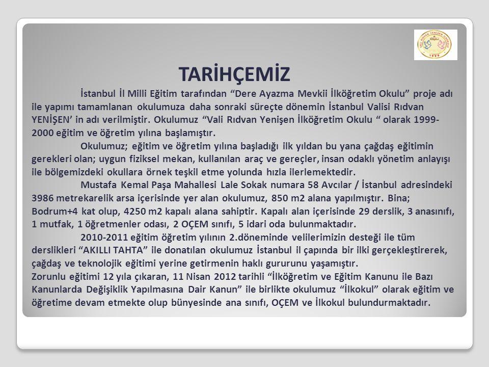 """TARİHÇEMİZ İstanbul İl Milli Eğitim tarafından """"Dere Ayazma Mevkii İlköğretim Okulu"""" proje adı ile yapımı tamamlanan okulumuza daha sonraki süreçte dö"""