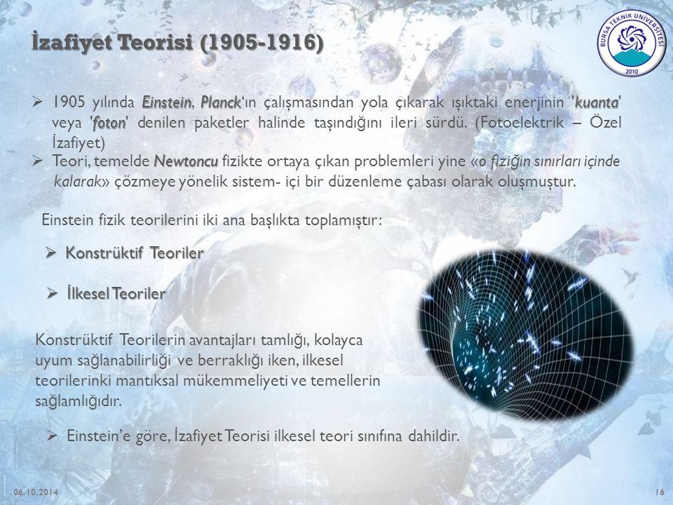 16 İ zafiyet Teorisi (1905-1916) EinsteinPlanckkuanta foton  1905 yılında Einstein, Planck'ın çalışmasından yola çıkarak ışıktaki enerjinin kuanta veya foton denilen paketler halinde taşındı ğ ını ileri sürdü.