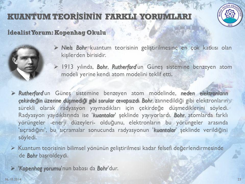 23 KUANTUM TEOR İ S İ N İ N FARKLI YORUMLARI İ dealist Yorum: Kopenhag Okulu  Niels Bohr  Niels Bohr kuantum teorisinin geliştirilmesine en çok katkısı olan kişilerden birisidir.