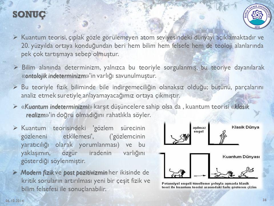 36 SONUÇ  Kuantum teorisi, çıplak gözle görülemeyen atom seviyesindeki dünyayı açıklamaktadır ve 20.