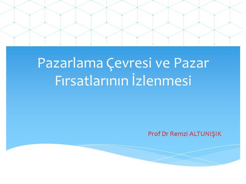 Pazarlama Çevresi ve Pazar Fırsatlarının İzlenmesi Prof Dr Remzi ALTUNIŞIK