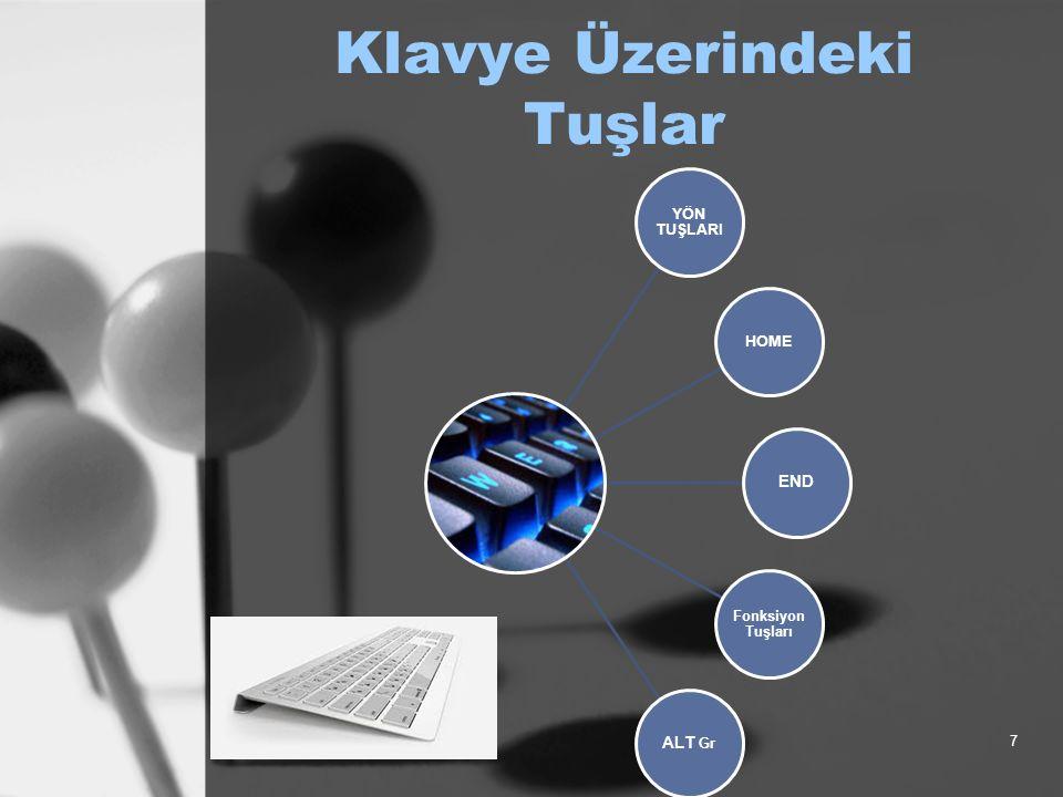 Diğer Girdi Birimleri 8 Klavyere, disket, harddisk, joystick, tarayıcı (scanner), mikrofon, ekran (dokunmatik), CD, barkod okuyucu