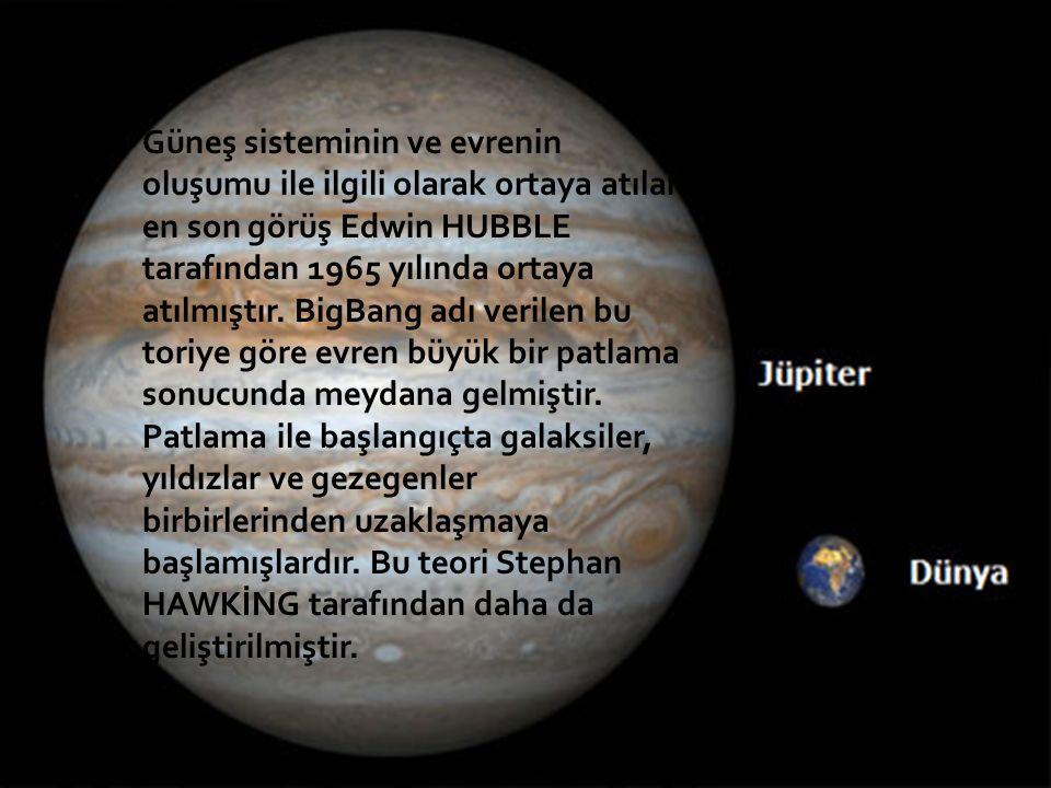 Güneş sisteminin ve evrenin oluşumu ile ilgili olarak ortaya atılan en son görüş Edwin HUBBLE tarafından 1965 yılında ortaya atılmıştır.