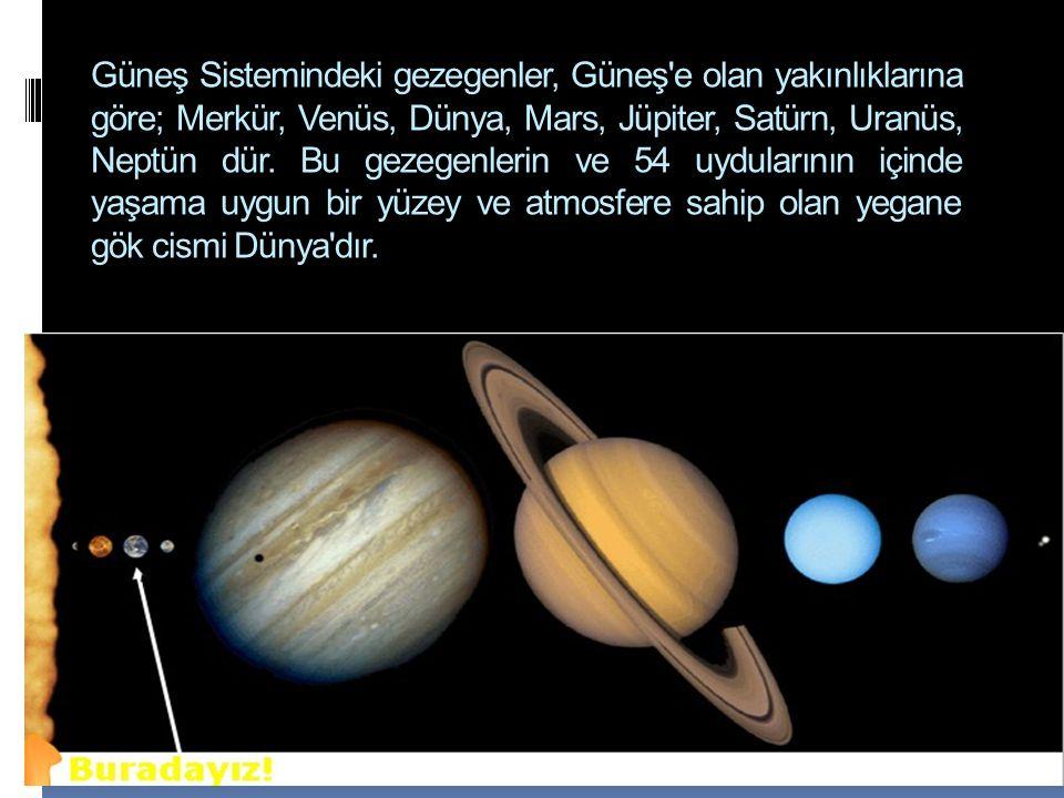 Güneş Sistemindeki gezegenler, Güneş e olan yakınlıklarına göre; Merkür, Venüs, Dünya, Mars, Jüpiter, Satürn, Uranüs, Neptün dür.
