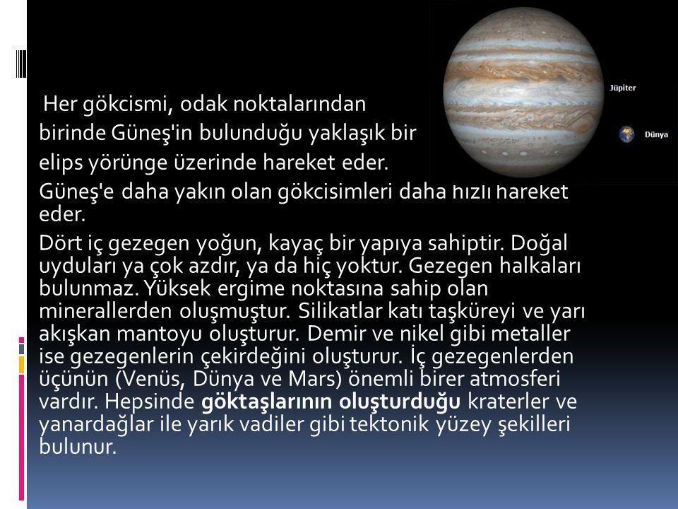 Her gökcismi, odak noktalarından birinde Güneş in bulunduğu yaklaşık bir elips yörünge üzerinde hareket eder.