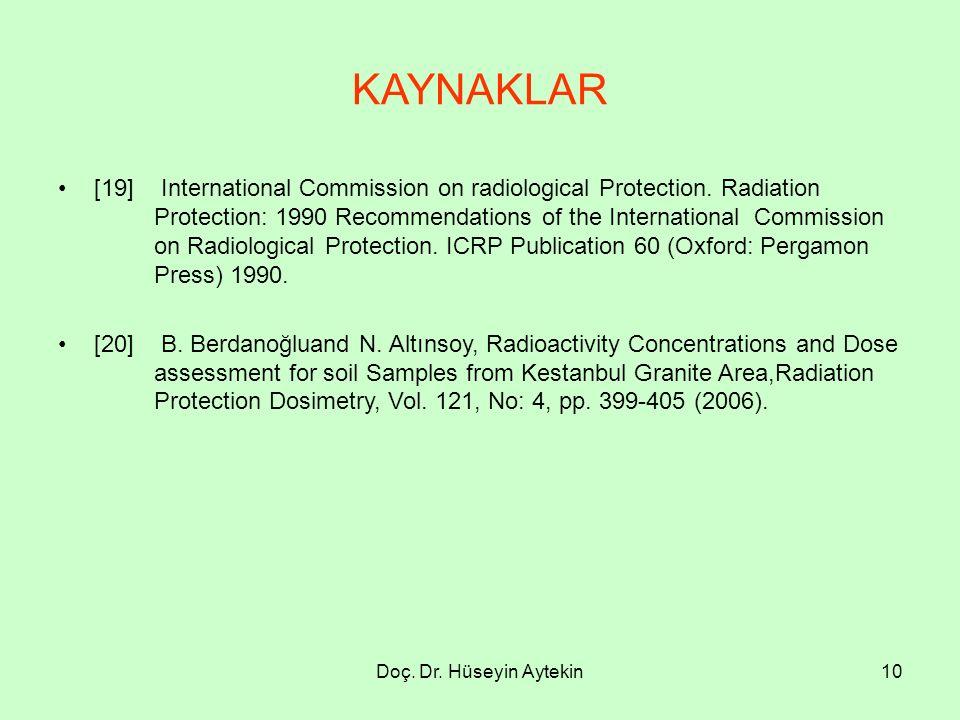 Doç. Dr. Hüseyin Aytekin10 KAYNAKLAR [19] International Commission on radiological Protection. Radiation Protection: 1990 Recommendations of the Inter