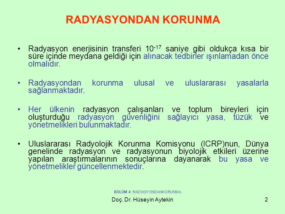 Doç. Dr. Hüseyin Aytekin2 RADYASYONDAN KORUNMA Radyasyon enerjisinin transferi 10 -17 saniye gibi oldukça kısa bir süre içinde meydana geldiği için al