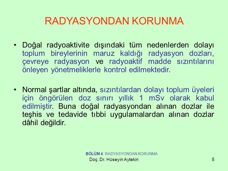 Doç. Dr. Hüseyin Aytekin5 RADYASYONDAN KORUNMA Doğal radyoaktivite dışındaki tüm nedenlerden dolayı toplum bireylerinin maruz kaldığı radyasyon dozlar