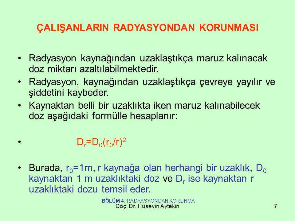 Doç. Dr. Hüseyin Aytekin7 ÇALIŞANLARIN RADYASYONDAN KORUNMASI Radyasyon kaynağından uzaklaştıkça maruz kalınacak doz miktarı azaltılabilmektedir. Rady