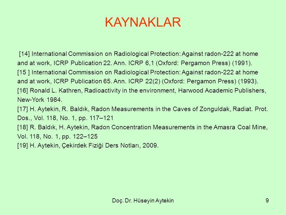 Doç. Dr. Hüseyin Aytekin9 KAYNAKLAR [14] International Commission on Radiological Protection: Against radon-222 at home and at work, ICRP Publication