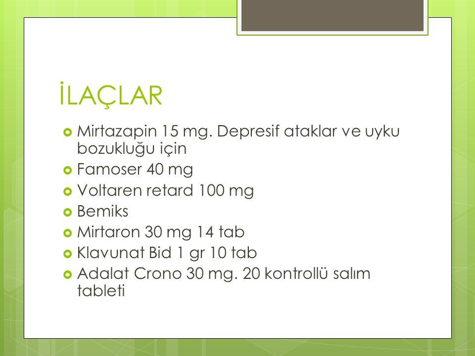 İLAÇLAR  Mirtazapin 15 mg.