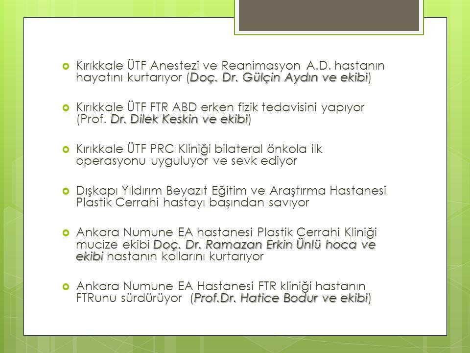 Doç. Dr. Gülçin Aydın ve ekibi  Kırıkkale ÜTF Anestezi ve Reanimasyon A.D.