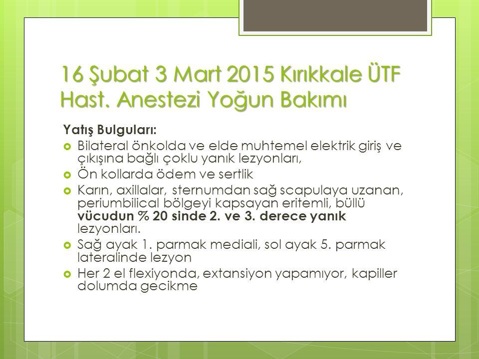 16 Şubat 3 Mart 2015 Kırıkkale ÜTF Hast.