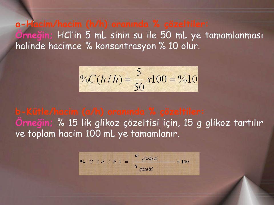 a-Hacim/hacim (h/h) oranında % çözeltiler: Örneğin; HCl'in 5 mL sinin su ile 50 mL ye tamamlanması halinde hacimce % konsantrasyon % 10 olur. b-Kütle/