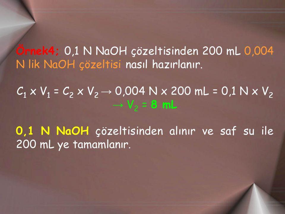 Örnek4; 0,1 N NaOH çözeltisinden 200 mL 0,004 N lik NaOH çözeltisi nasıl hazırlanır. C 1 x V 1 = C 2 x V 2 → 0,004 N x 200 mL = 0,1 N x V 2 → V 2 = 8