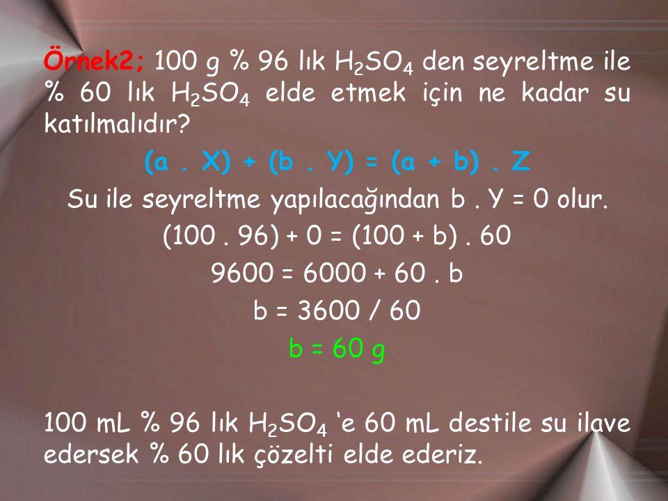 Örnek2; 100 g % 96 lık H 2 SO 4 den seyreltme ile % 60 lık H 2 SO 4 elde etmek için ne kadar su katılmalıdır? (a. X) + (b. Y) = (a + b). Z Su ile seyr