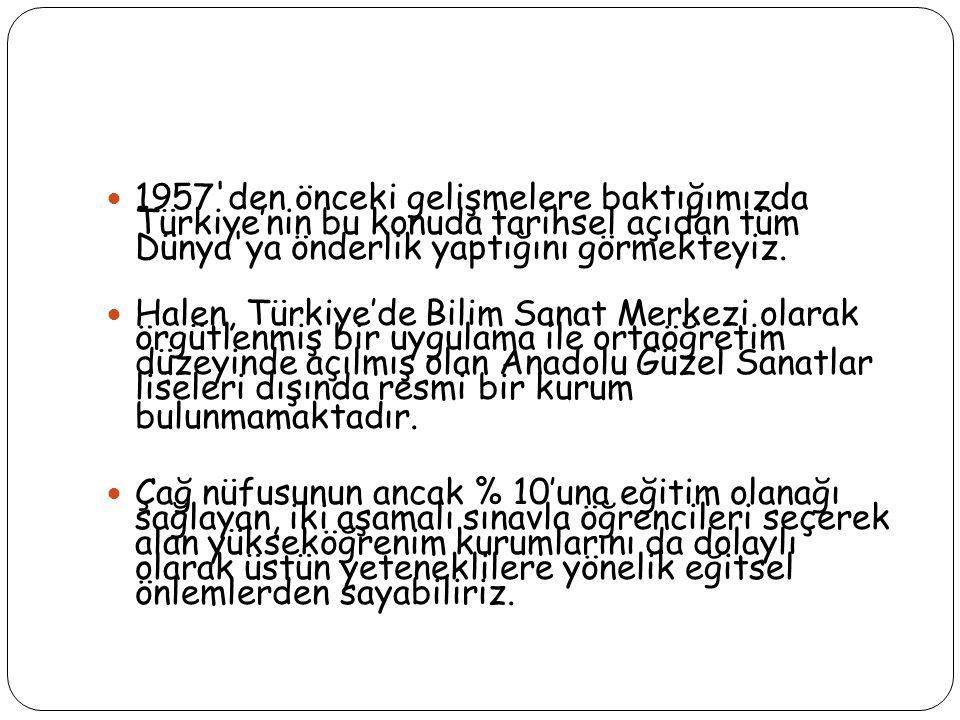 1957'den önceki gelişmelere baktığımızda Türkiye'nin bu konuda tarihsel açıdan tüm Dünya'ya önderlik yaptığını görmekteyiz. Halen, Türkiye'de Bilim Sa