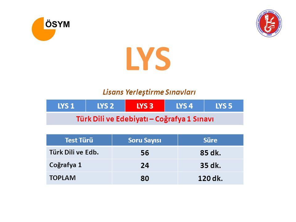 LYS 1LYS 2LYS 3LYS 4LYS 5 Türk Dili ve Edebiyatı – Coğrafya 1 Sınavı Test TürüSoru SayısıSüre Türk Dili ve Edb. 5685 dk. Coğrafya 1 2435 dk. TOPLAM 80