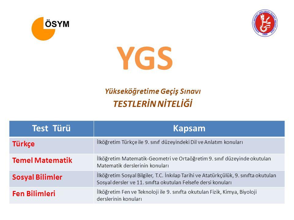 Test TürüKapsam Türkçe İlköğretim Türkçe ile 9. sınıf düzeyindeki Dil ve Anlatım konuları Temel Matematik İlköğretim Matematik-Geometri ve Ortaöğretim