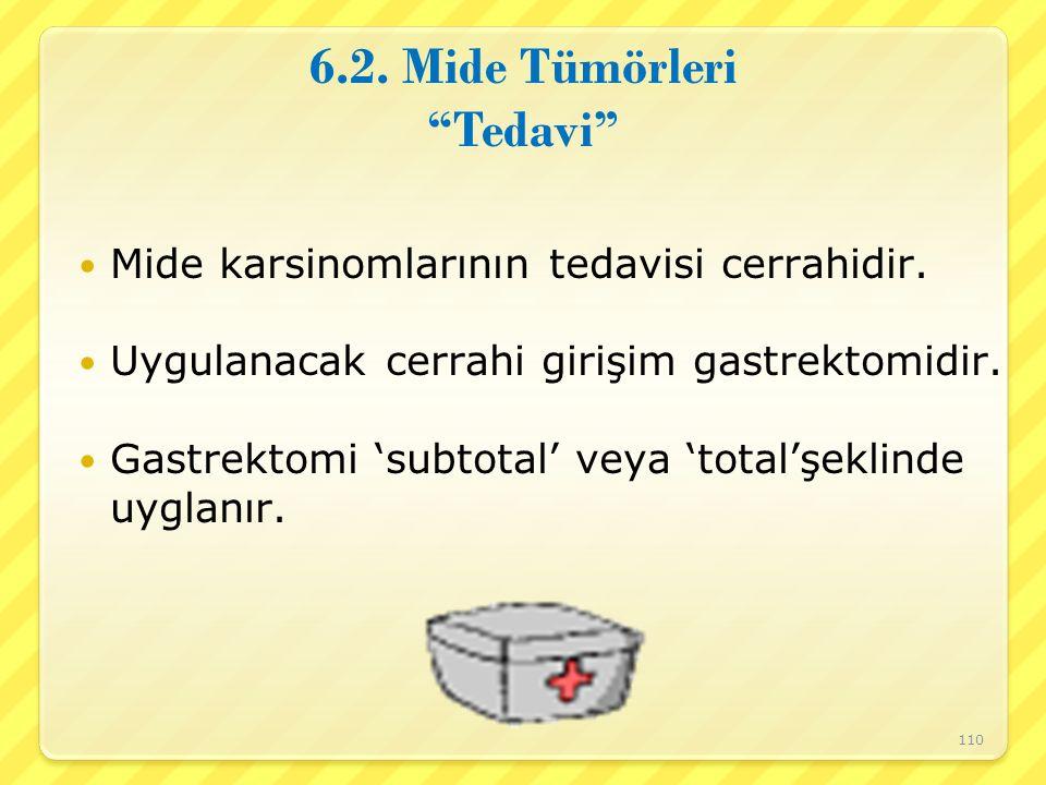 """6.2. Mide Tümörleri """"Tedavi"""" Mide karsinomlarının tedavisi cerrahidir. Uygulanacak cerrahi girişim gastrektomidir. Gastrektomi 'subtotal' veya 'total'"""