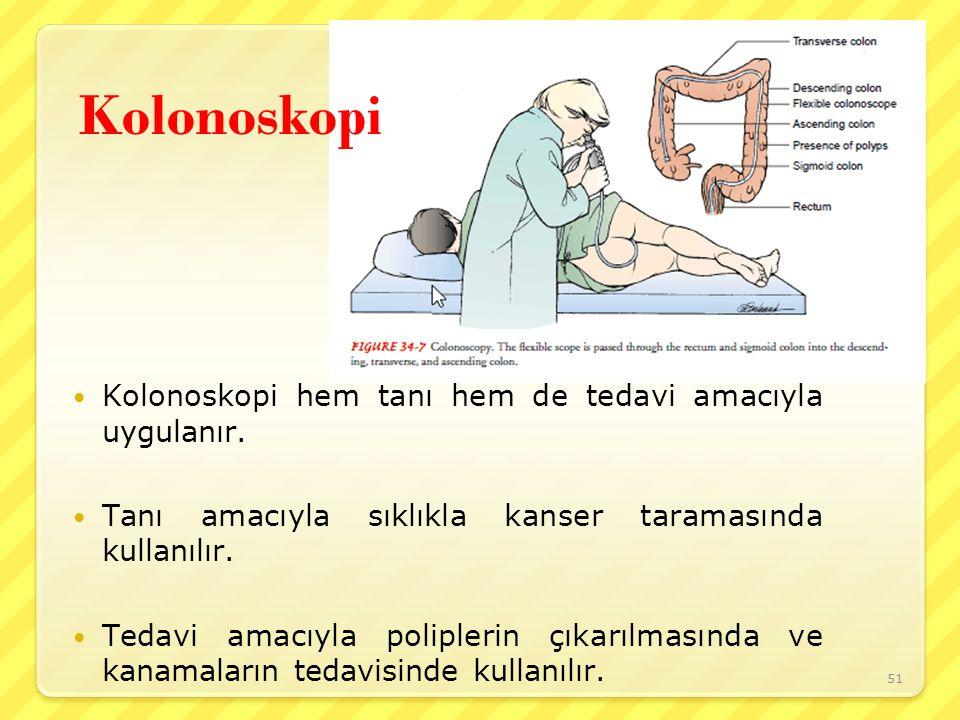 Kolonoskopi Kolonoskopi hem tanı hem de tedavi amacıyla uygulanır. Tanı amacıyla sıklıkla kanser taramasında kullanılır. Tedavi amacıyla poliplerin çı