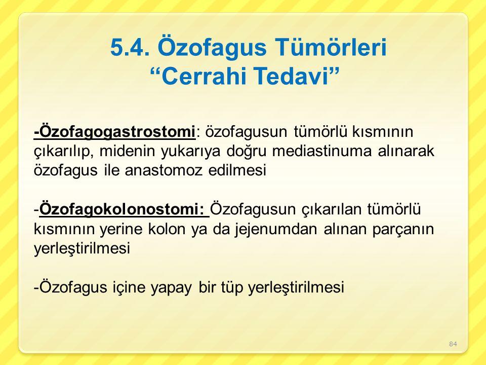 -Özofagogastrostomi: özofagusun tümörlü kısmının çıkarılıp, midenin yukarıya doğru mediastinuma alınarak özofagus ile anastomoz edilmesi -Özofagokolon