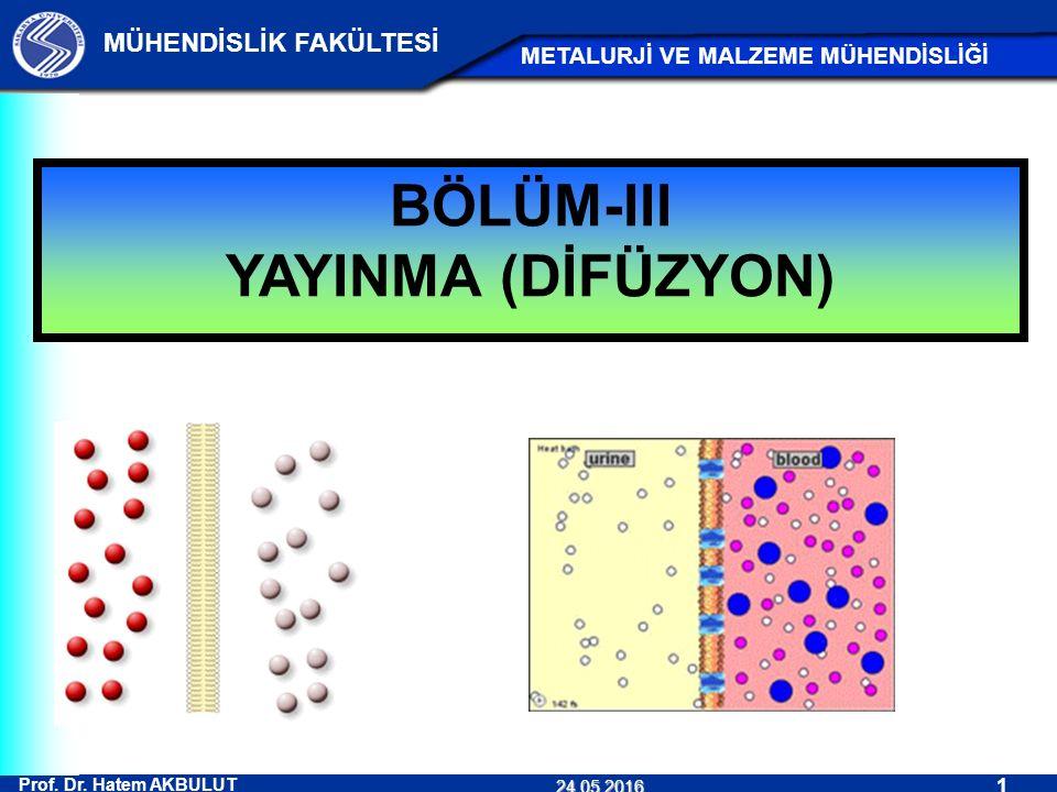 Prof. Dr. Hatem AKBULUT 1 MÜHENDİSLİK FAKÜLTESİ METALURJİ VE MALZEME MÜHENDİSLİĞİ 24.05.2016 BÖLÜM-III YAYINMA (DİFÜZYON)
