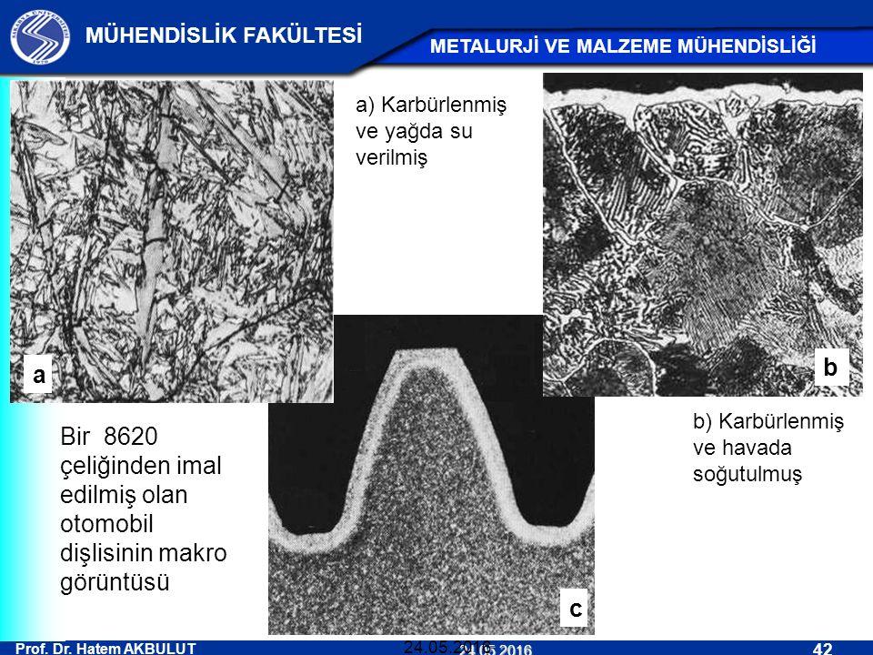 Prof. Dr. Hatem AKBULUT 42 MÜHENDİSLİK FAKÜLTESİ METALURJİ VE MALZEME MÜHENDİSLİĞİ 24.05.2016 24.05.2016 c Bir 8620 çeliğinden imal edilmiş olan otomo